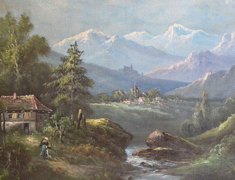 Antico Dipinto Olio su Tela, Paesaggio Montano, Montagne Ruscello ...